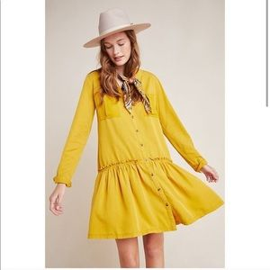 Anthropologie Marlie Button-Front Yellow Tunic 💛